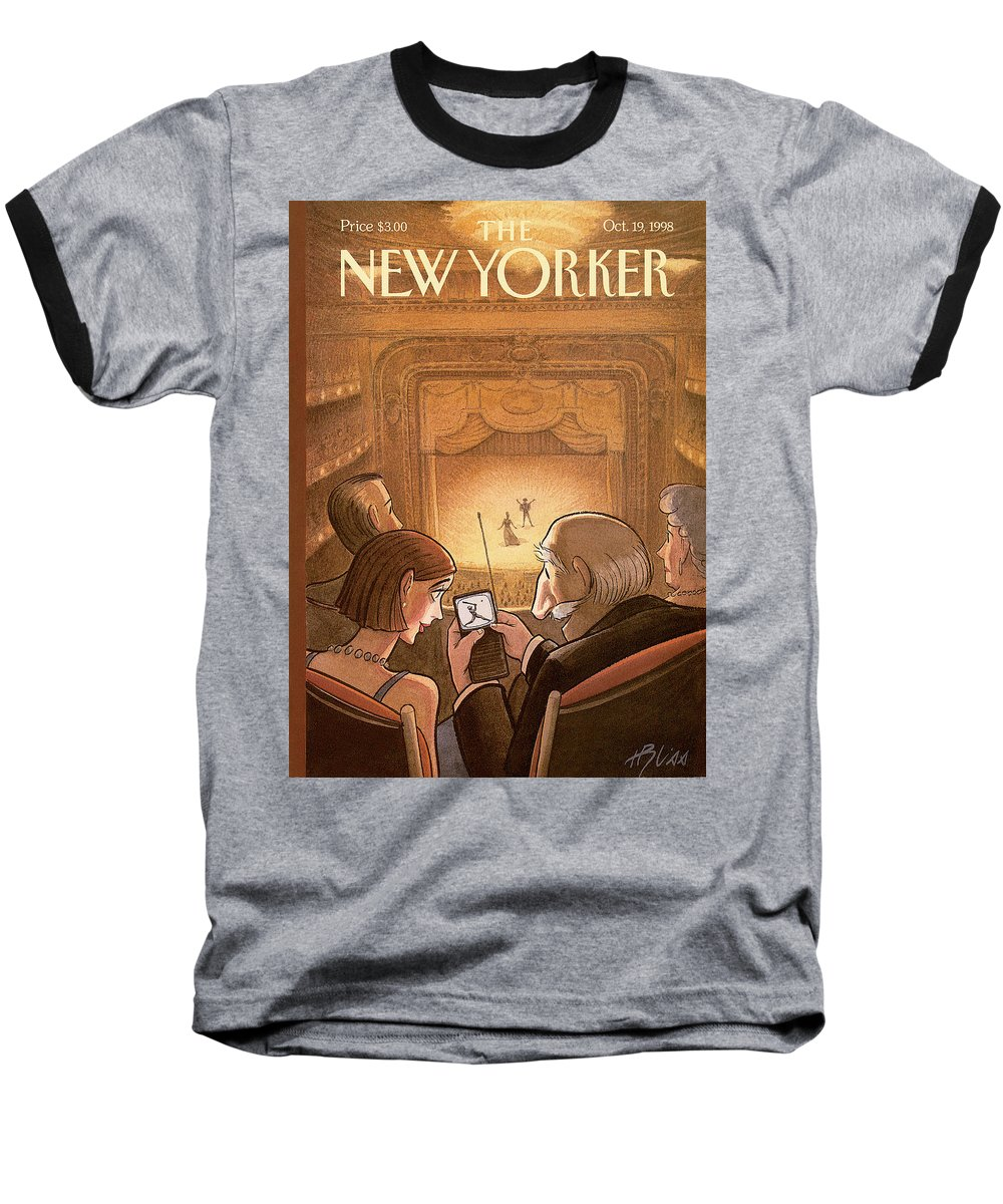 Doubleheader Baseball T-Shirt featuring the painting New Yorker October 19th, 1998 by Harry Bliss