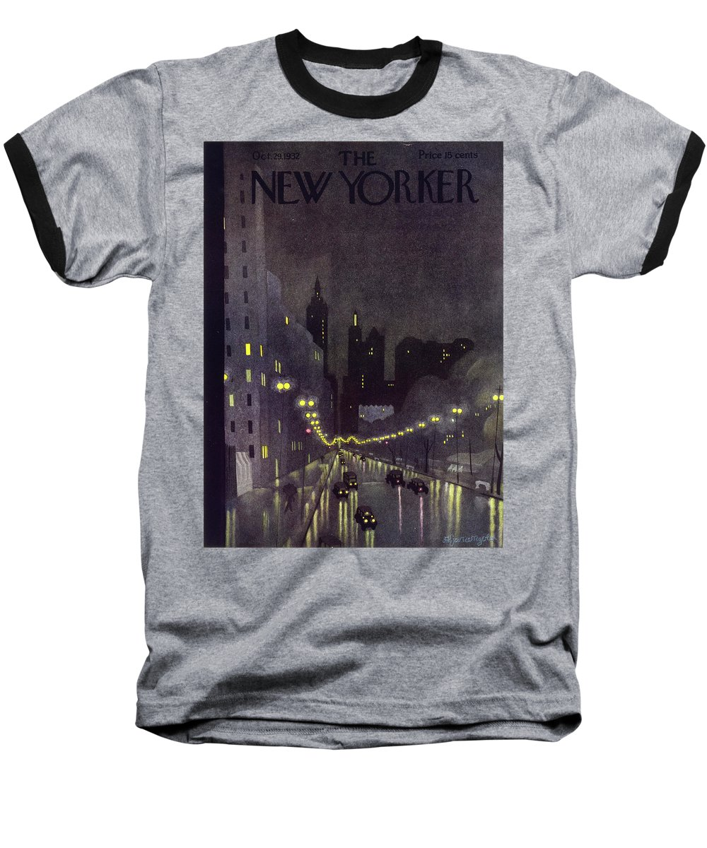 Illustration Baseball T-Shirt featuring the painting New Yorker October 29 1932 by Arthur K. Kronengold