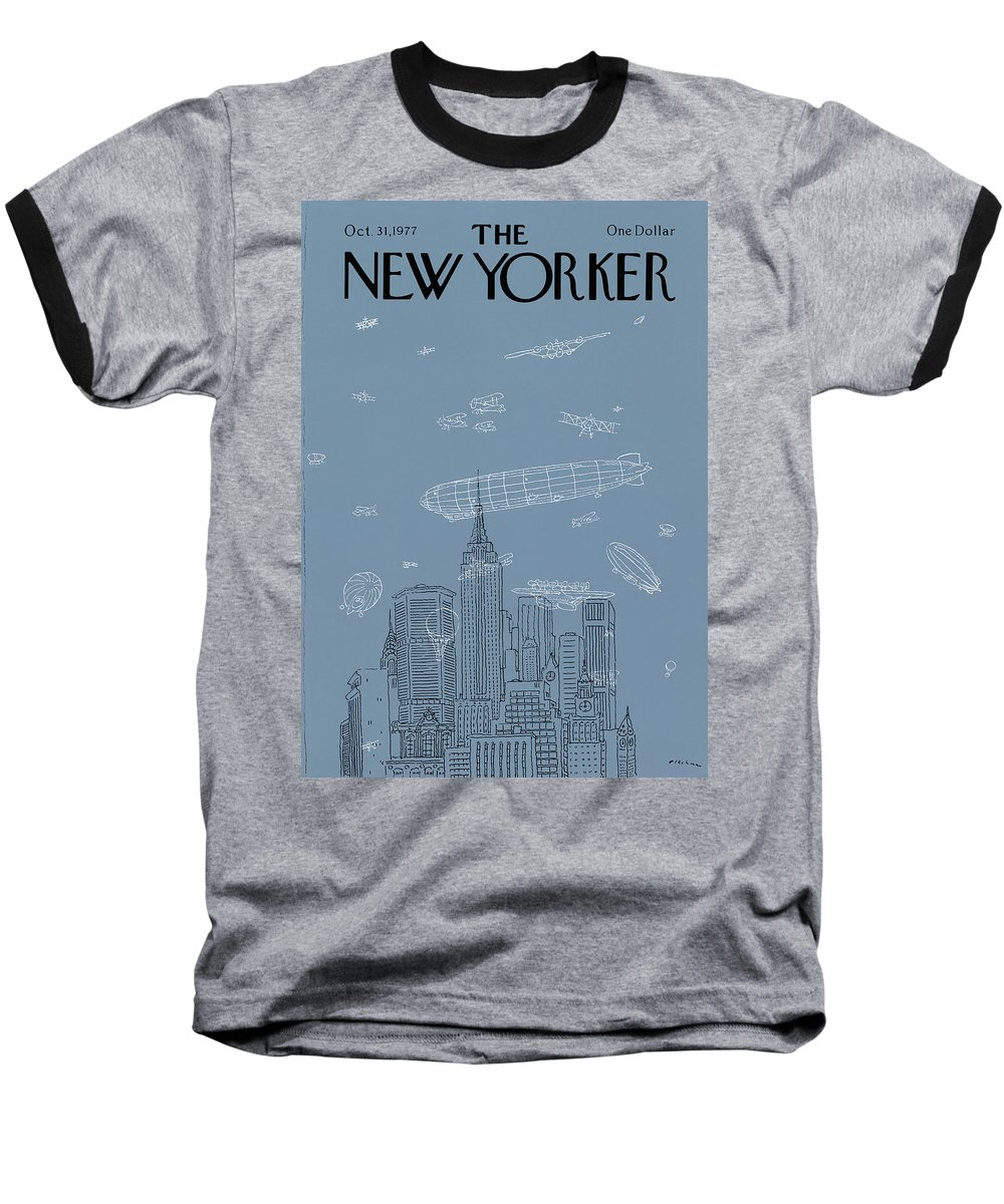 New York City Baseball T-Shirt featuring the painting New Yorker October 31st, 1977 by RO Blechman