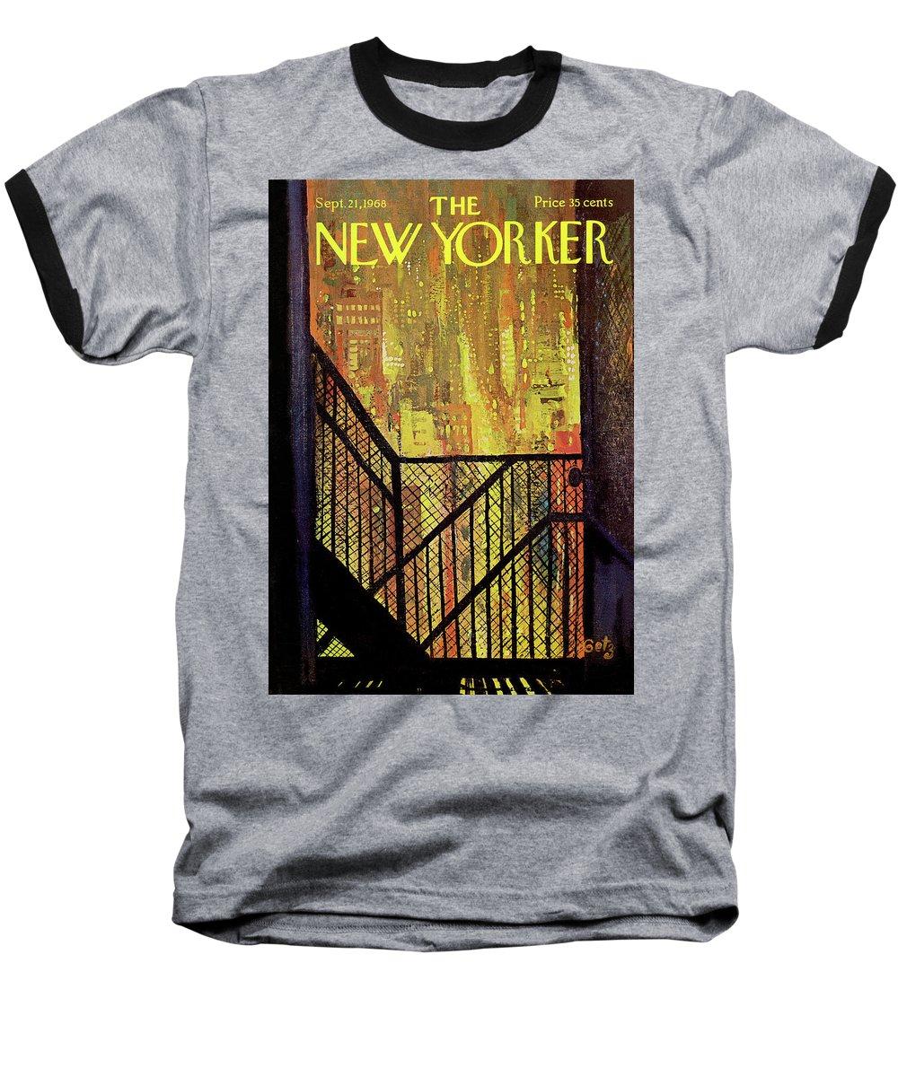 Arthur Getz Agt Baseball T-Shirt featuring the painting New Yorker September 21st, 1968 by Arthur Getz
