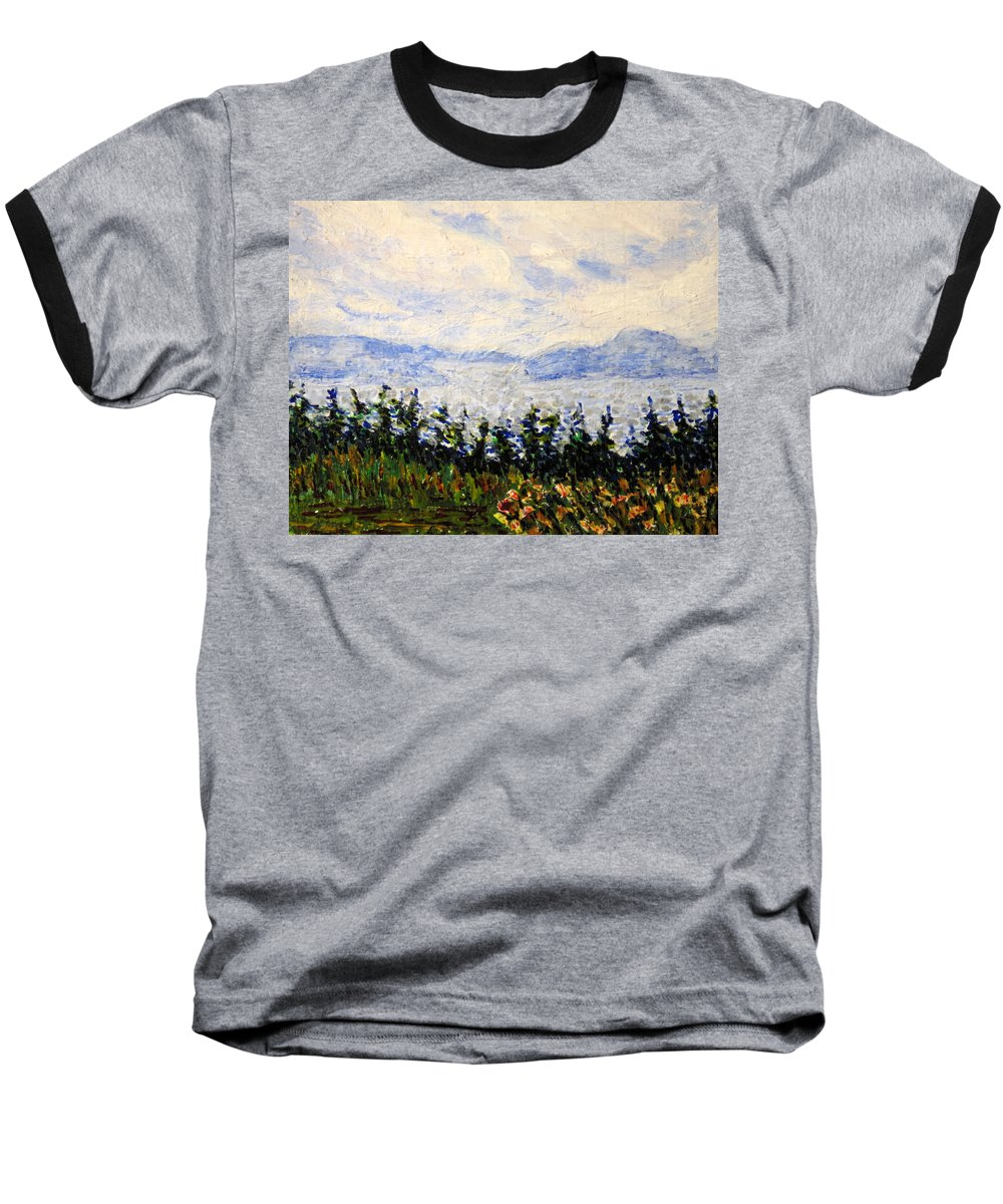 Newfoundland Baseball T-Shirt featuring the painting Newfoundland Up The West Coast by Ian MacDonald