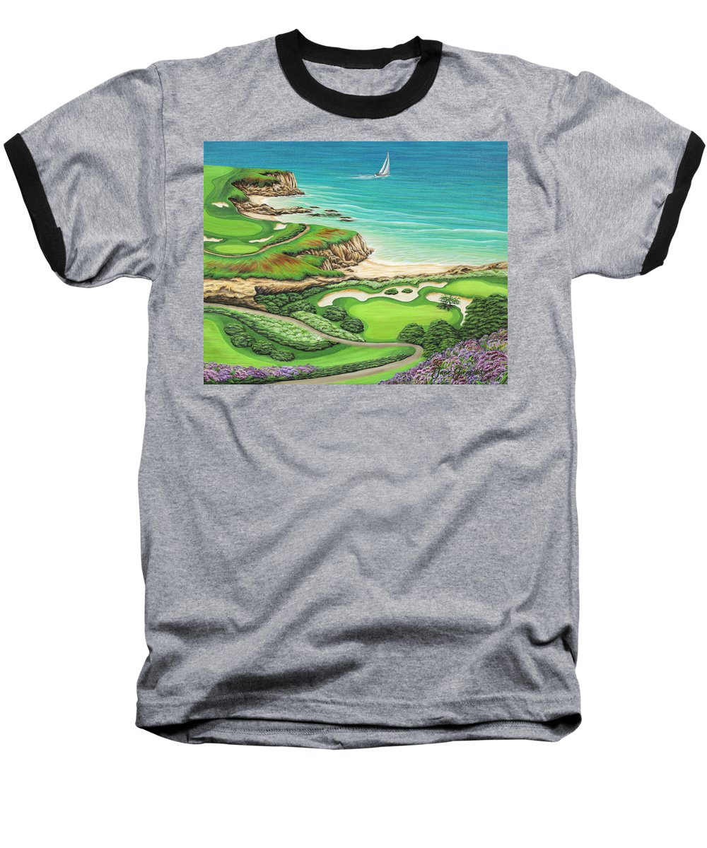 Ocean Baseball T-Shirt featuring the painting Newport Coast by Jane Girardot