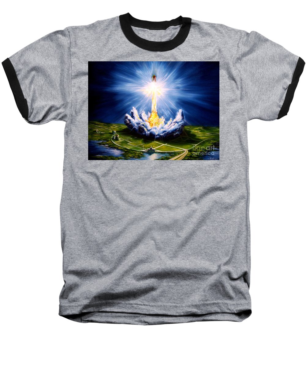 Landscape Baseball T-Shirt featuring the painting Night At The Cape by Murphy Elliott