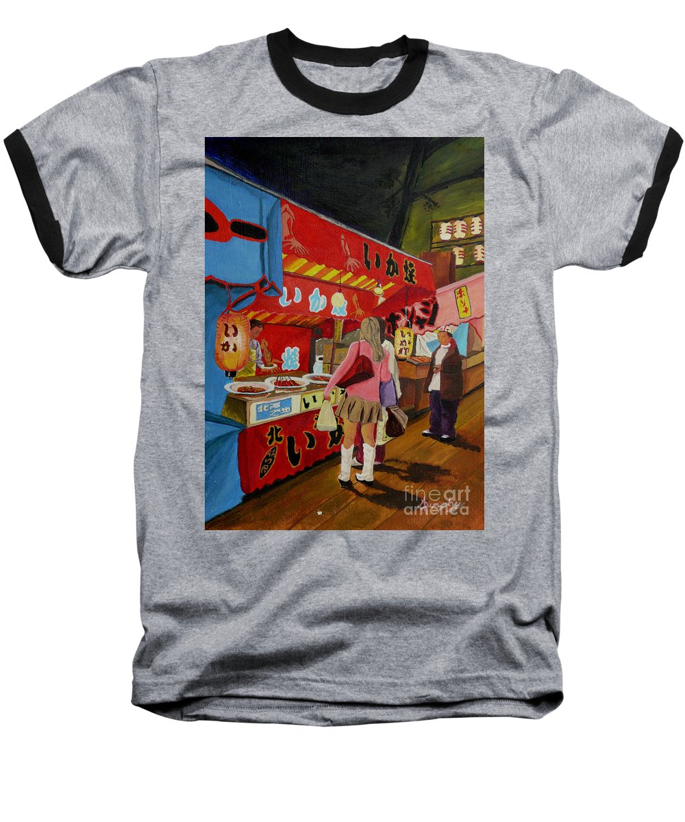 Japan Baseball T-Shirt featuring the painting Night Festival by Anthony Dunphy