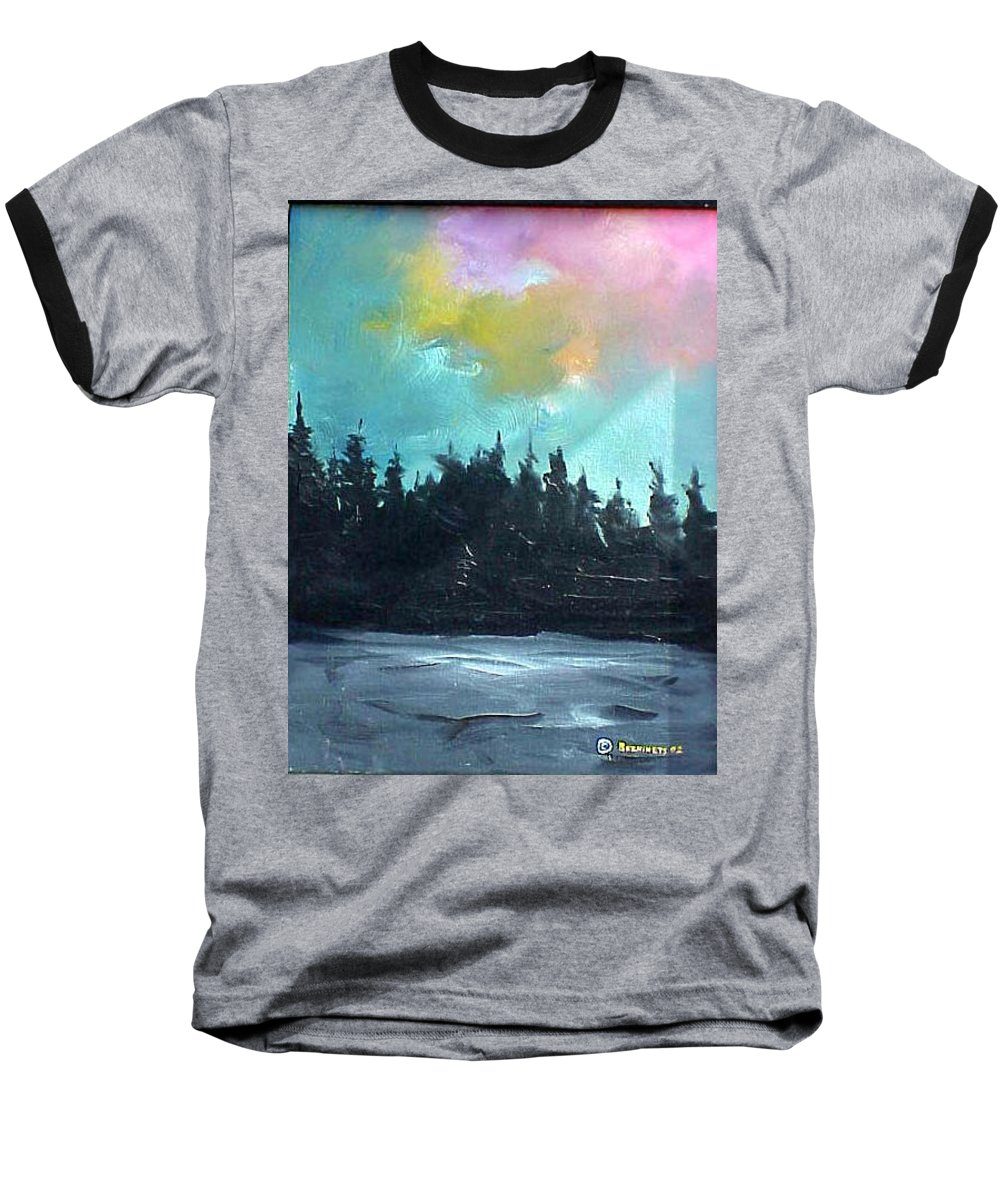 Landscape Baseball T-Shirt featuring the painting Night River by Sergey Bezhinets