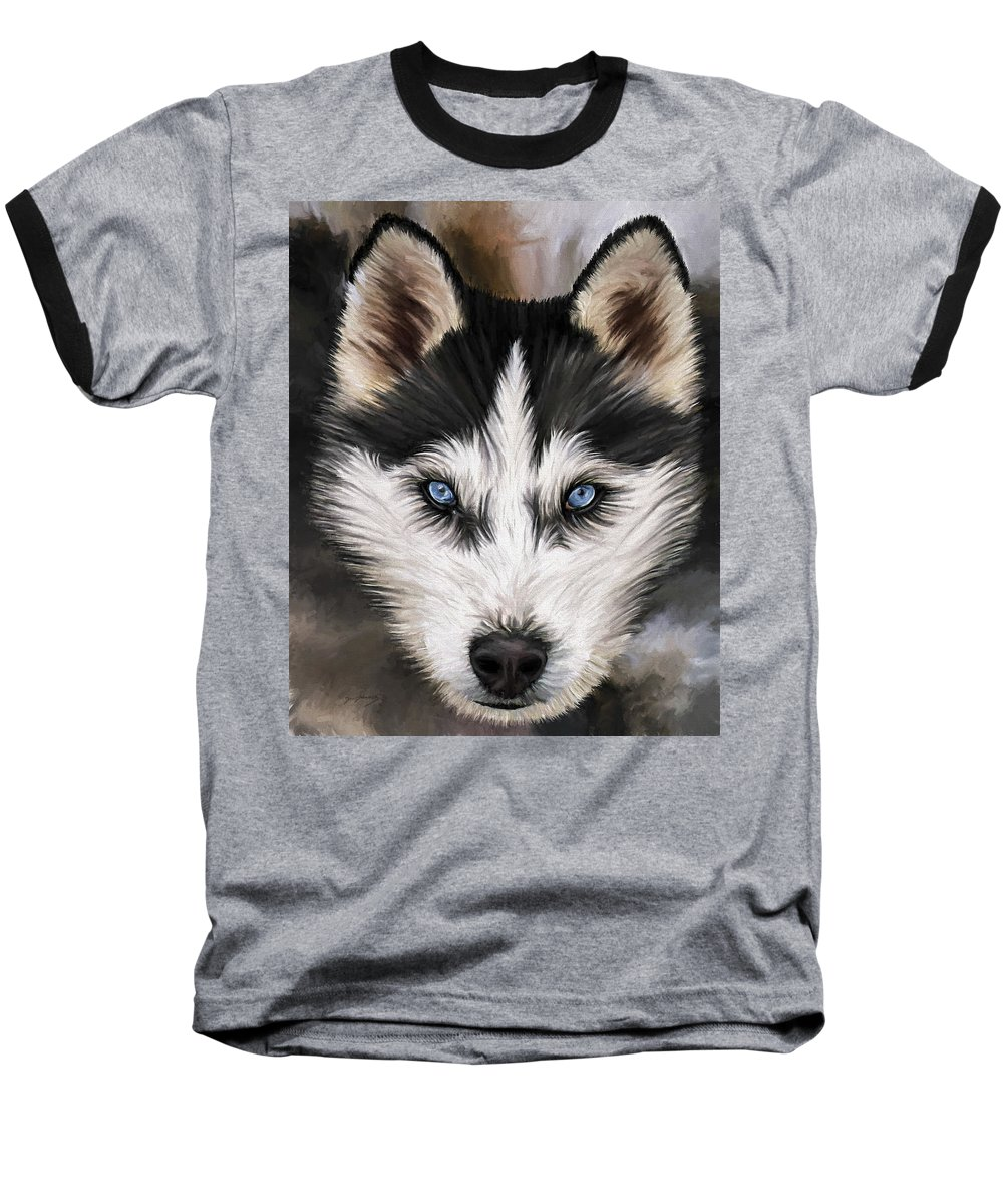 Dog Art Baseball T-Shirt featuring the painting Nikki by David Wagner