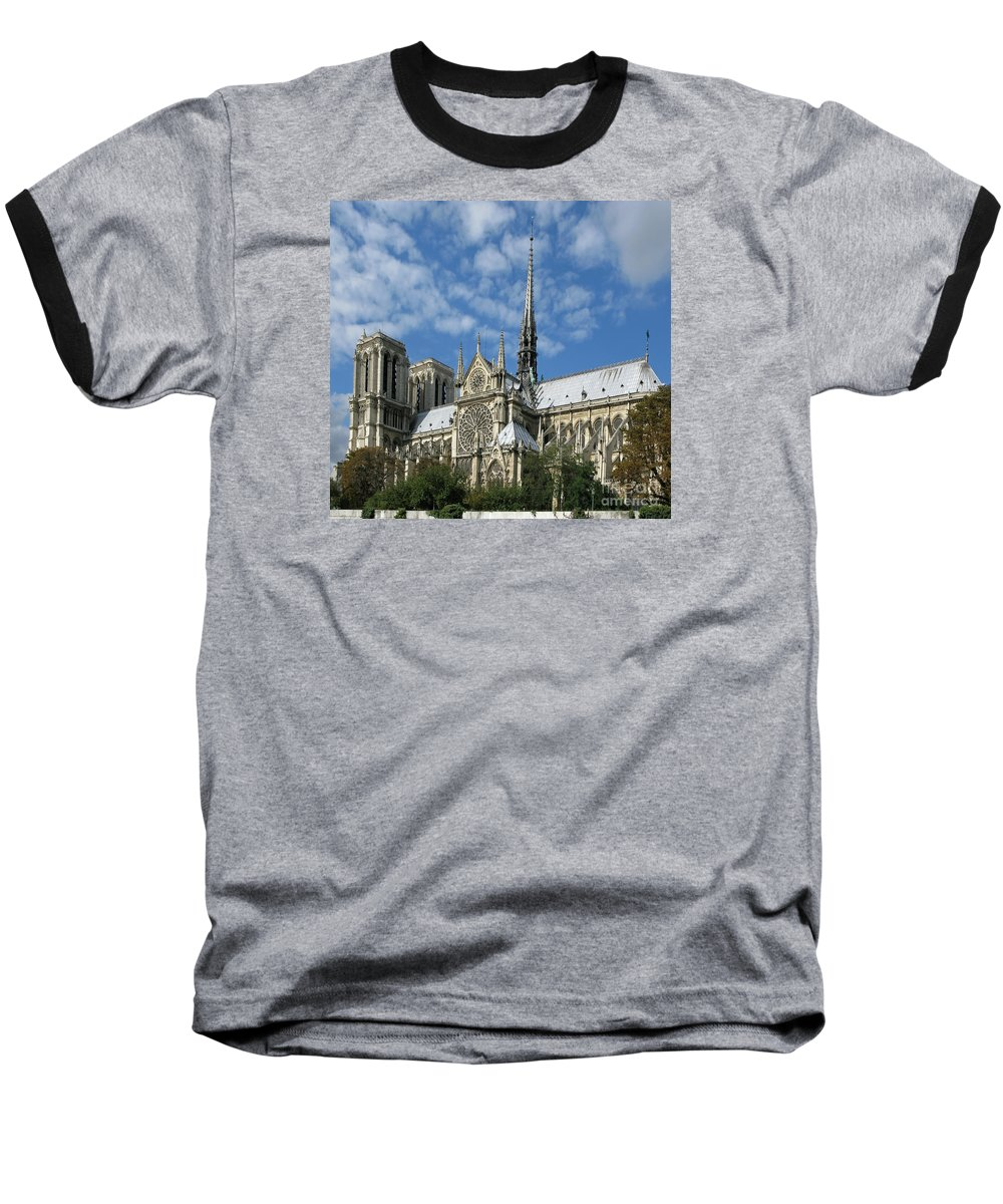 Notre Dame Baseball T-Shirt featuring the photograph Notre Dame Cathedral by Ann Horn