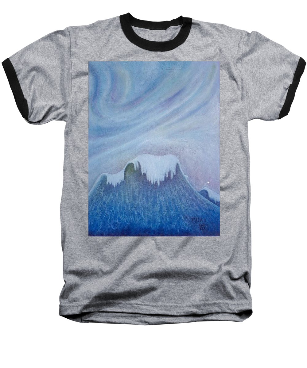 Ocean Baseball T-Shirt featuring the painting Ocean Wave by Micah Guenther