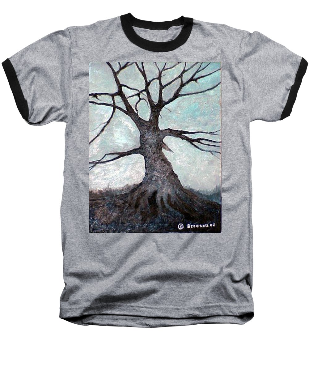 Landscape Baseball T-Shirt featuring the painting Old Tree by Sergey Bezhinets