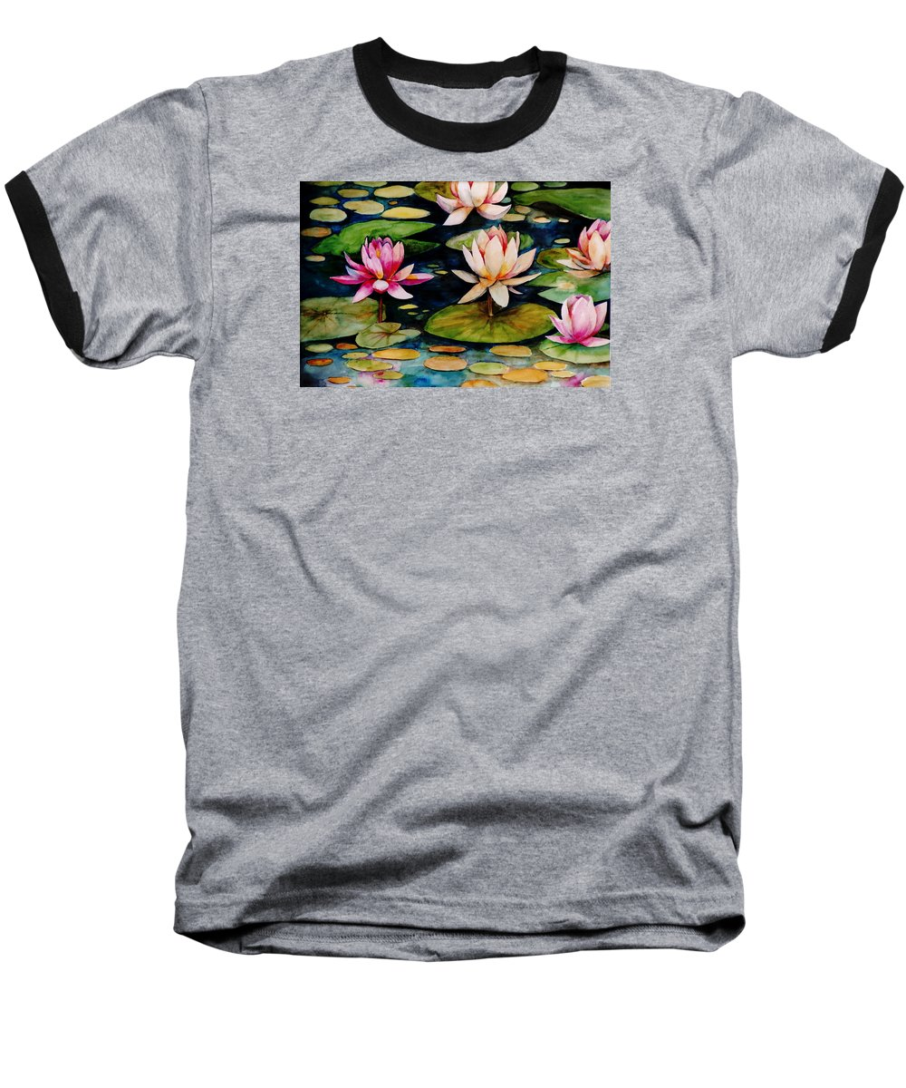 Lily Baseball T-Shirt featuring the painting On Lily Pond by Jun Jamosmos