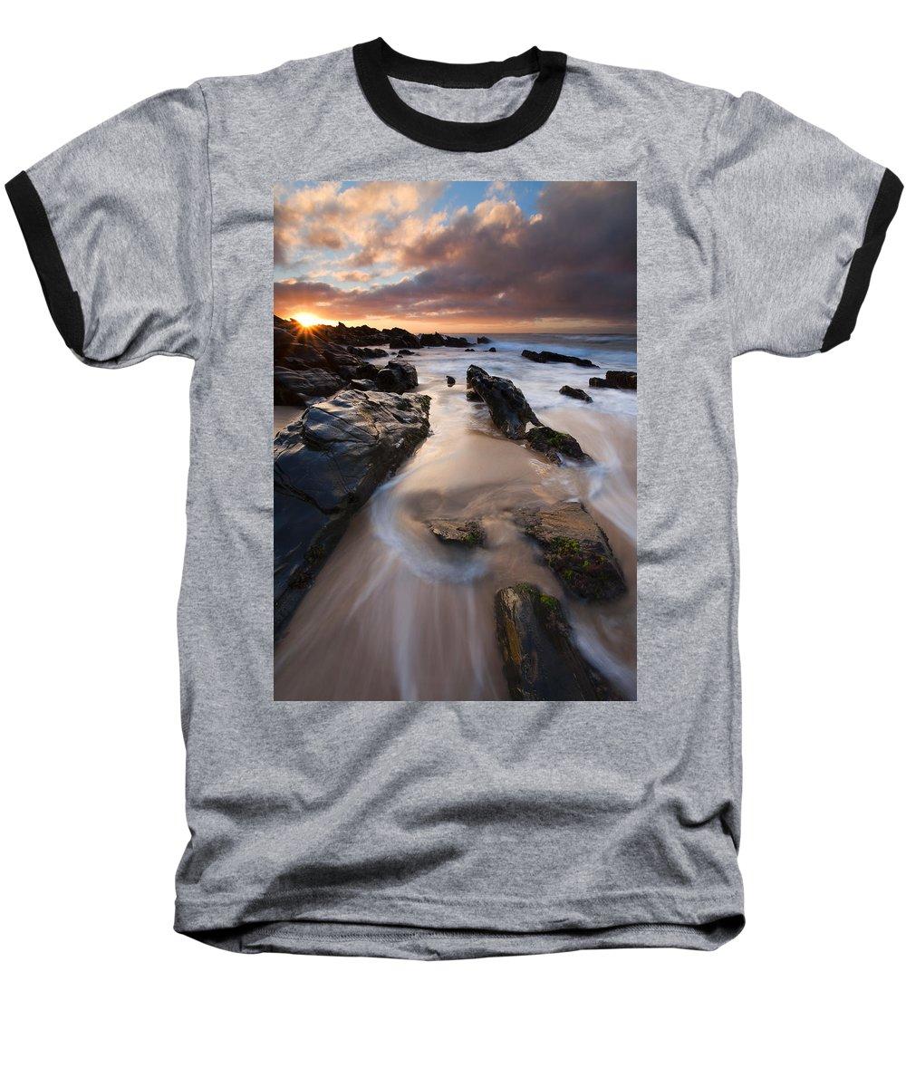 Basham Beach Baseball T-Shirt featuring the photograph On The Rocks by Mike Dawson