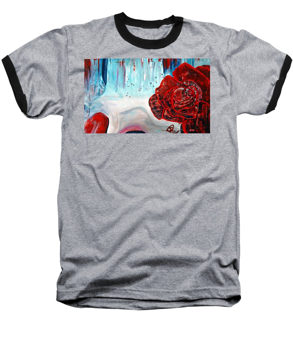 Landscape Baseball T-Shirt featuring the painting Op And Rose by Peggy Blood