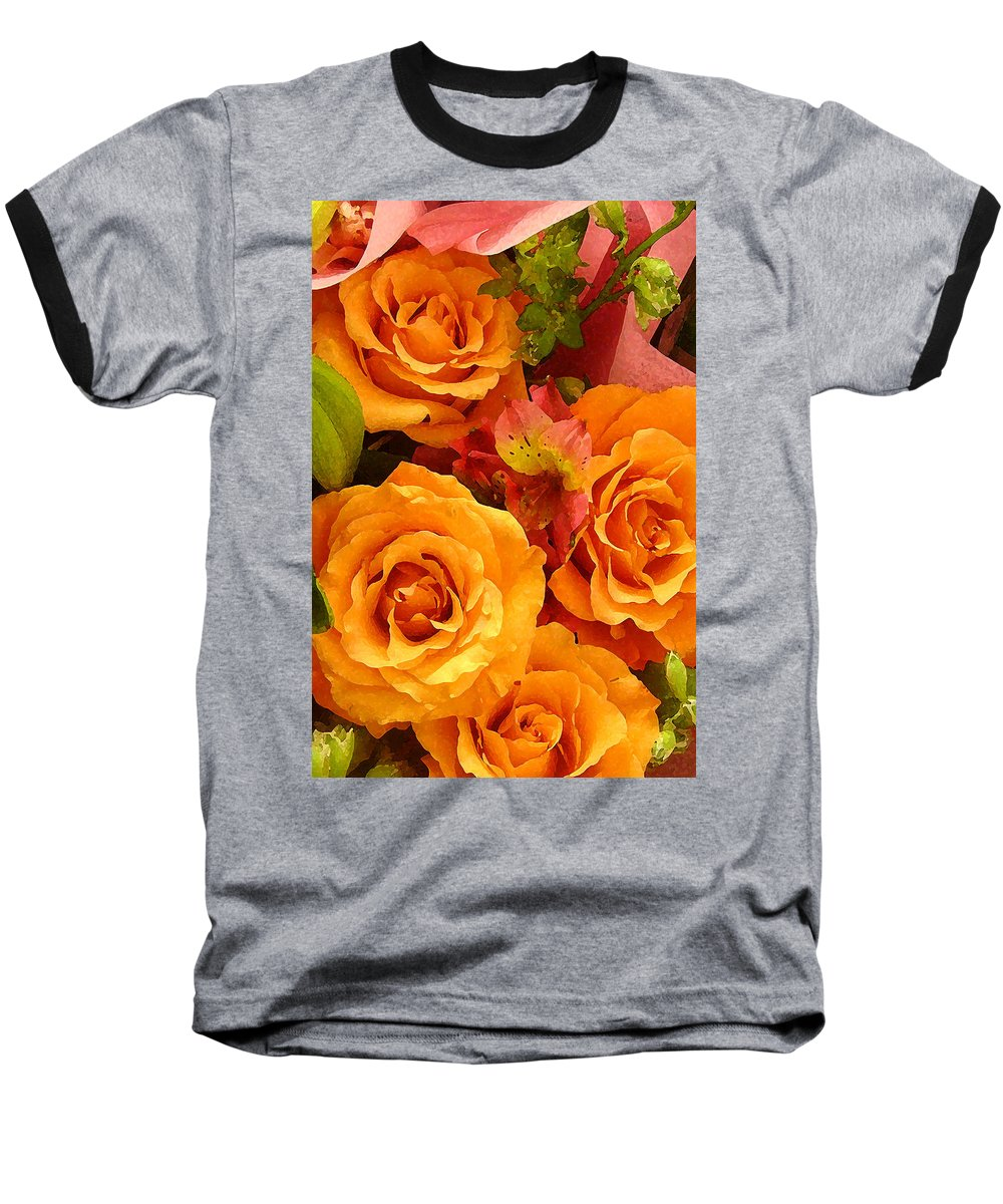 Roses Baseball T-Shirt featuring the painting Orange Roses by Amy Vangsgard