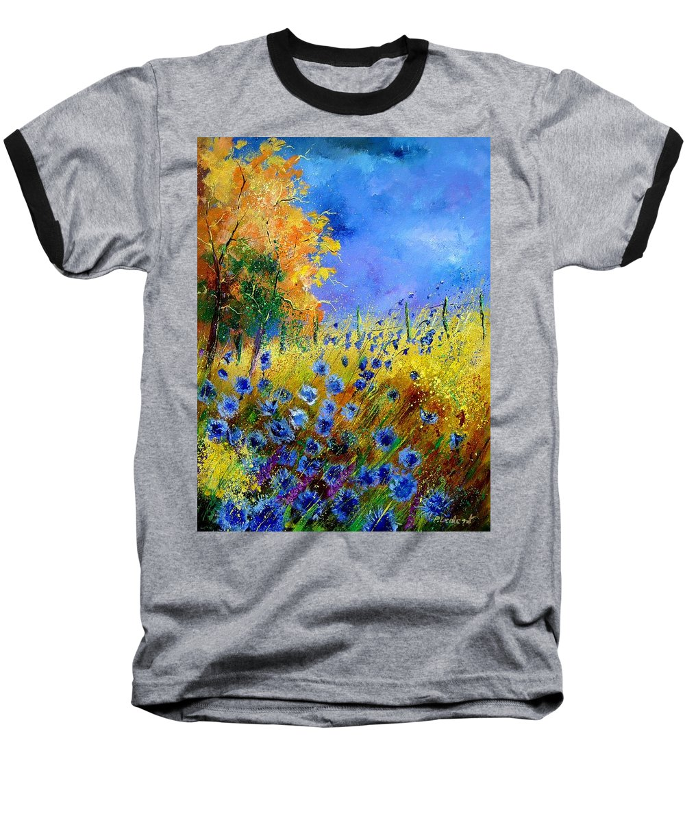 Poppies Baseball T-Shirt featuring the painting Orange Tree And Blue Cornflowers by Pol Ledent