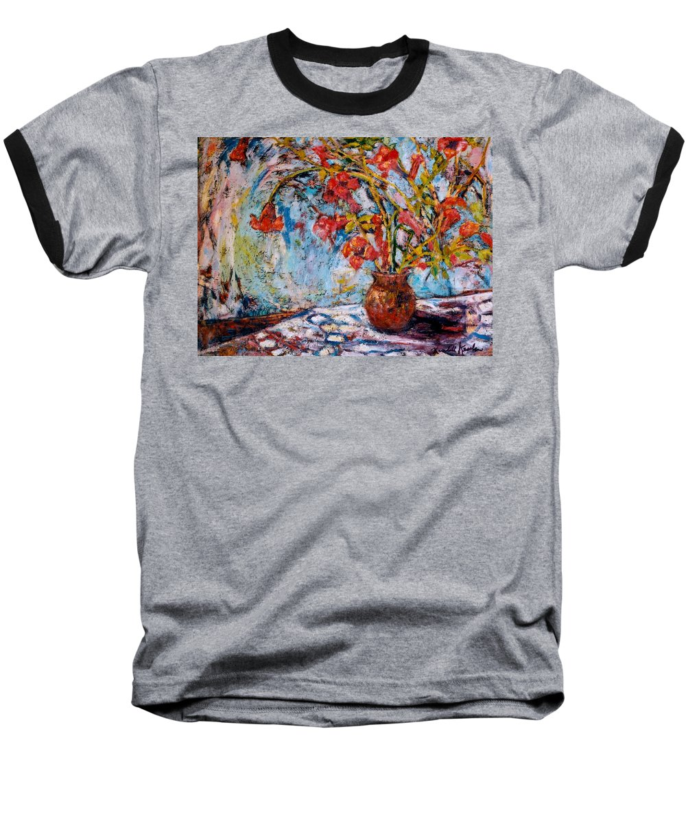 Trumpet Flowers Baseball T-Shirt featuring the painting Orange Trumpet Flowers by Kendall Kessler