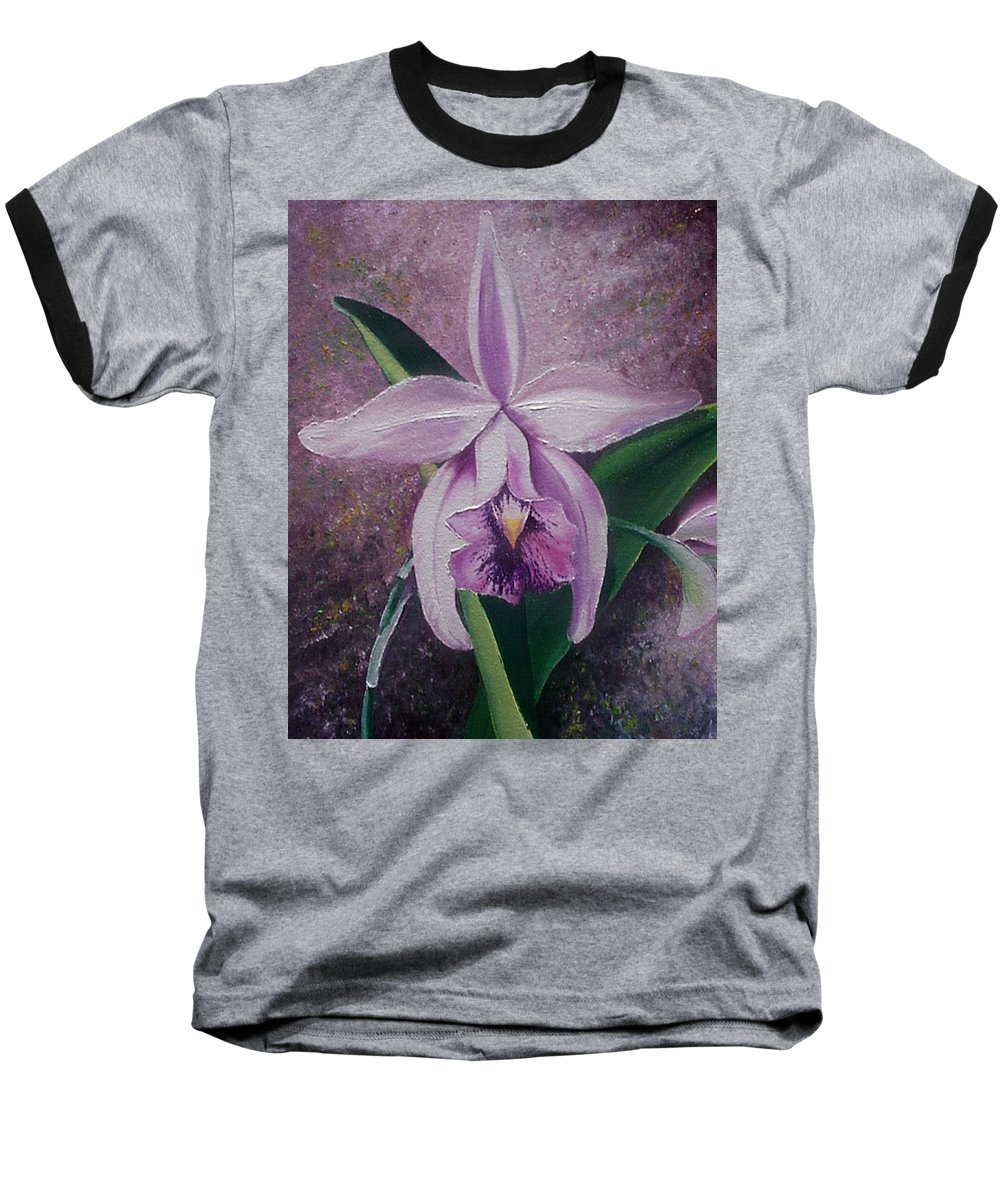 Orchid Purple Floral Botanical Baseball T-Shirt featuring the painting Orchid Lalia by Karin Dawn Kelshall- Best
