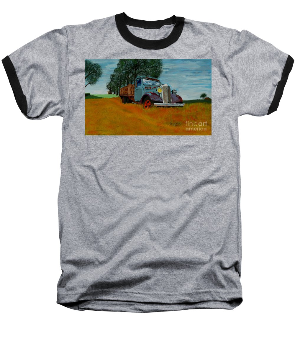 Truck Baseball T-Shirt featuring the painting Out To Pasture by Anthony Dunphy