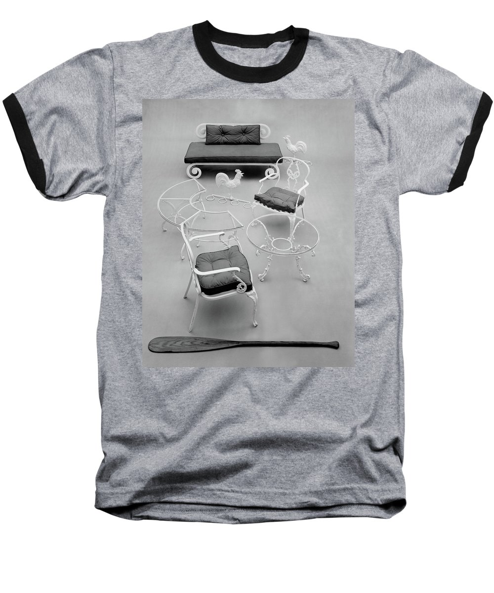 Furniture Baseball T-Shirt featuring the photograph Outdoor Furniture Made Out Of Cast Aluminum by Haanel Cassidy