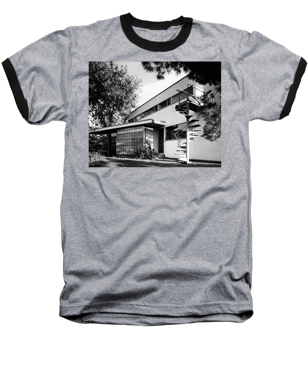 Home Baseball T-Shirt featuring the photograph Outdoor Spiral Staircase To The Roof-deck Of Mr by Robert M. Damora