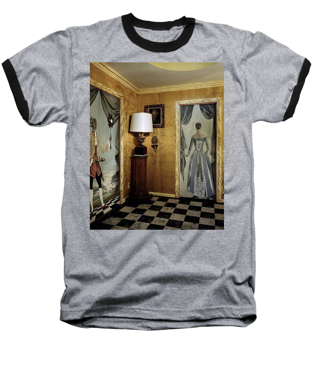 Indoors Baseball T-Shirt featuring the photograph Paintings On The Walls Of Tony Duquette's House by Shirley C. Burden