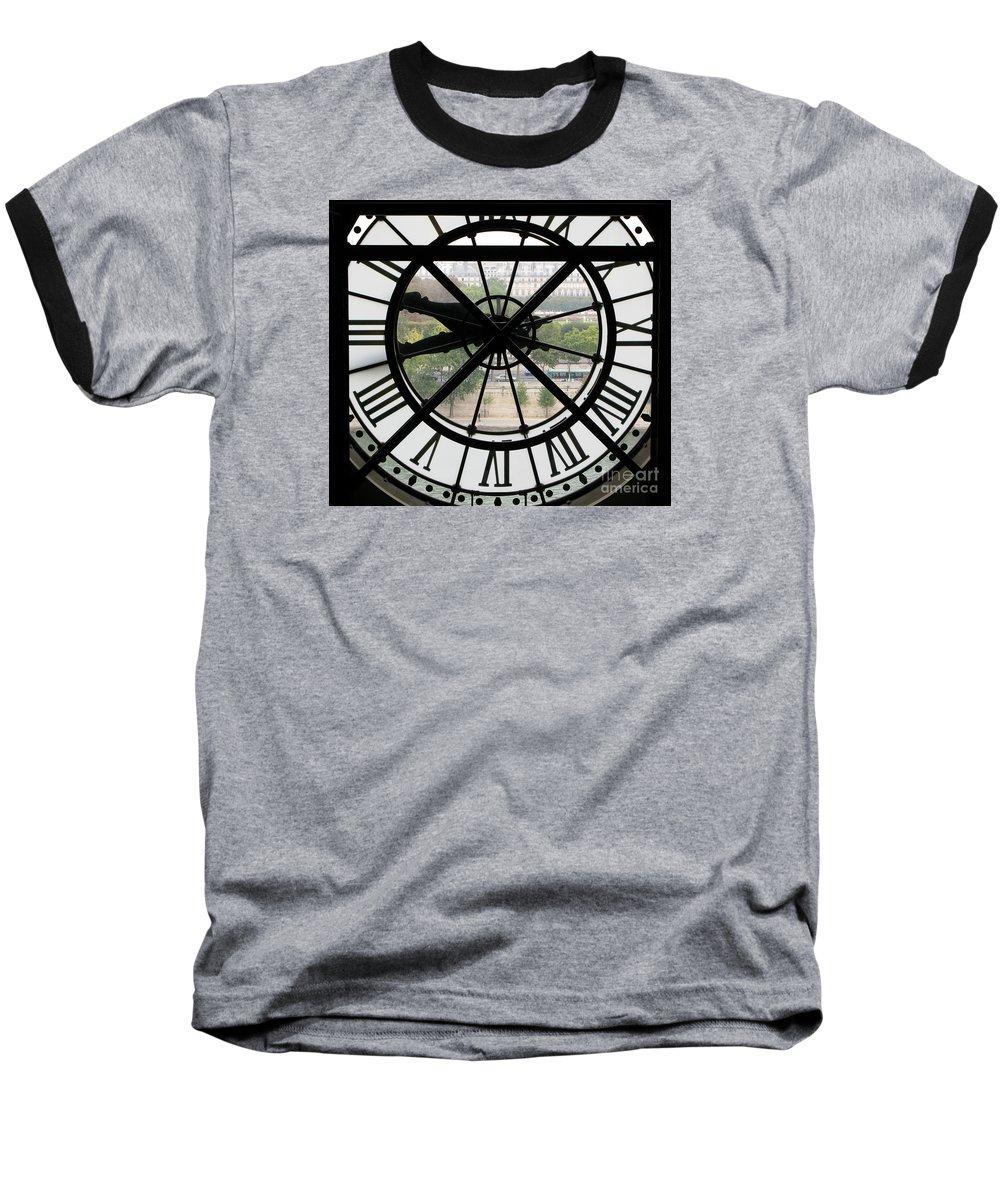 Clock Baseball T-Shirt featuring the photograph Paris Time by Ann Horn