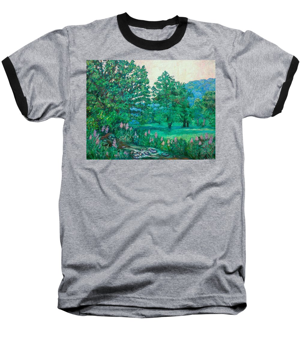 Landscape Baseball T-Shirt featuring the painting Park Road In Radford by Kendall Kessler