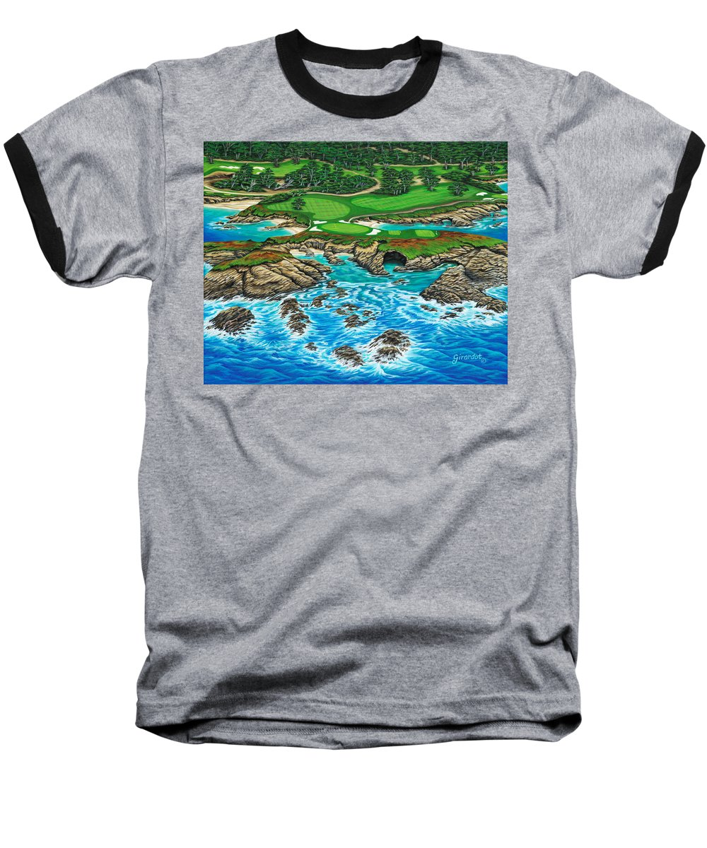 Ocean Baseball T-Shirt featuring the painting Pebble Beach 15th Hole-north by Jane Girardot