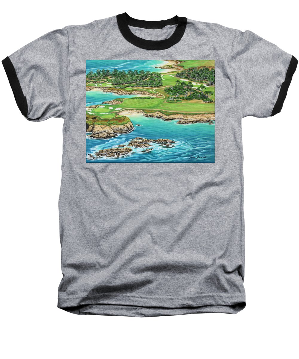 Ocean Baseball T-Shirt featuring the painting Pebble Beach 15th Hole-south by Jane Girardot