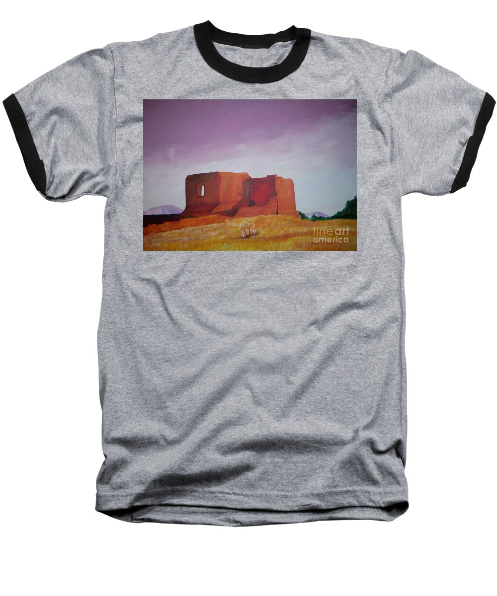 Western Baseball T-Shirt featuring the painting Pecos Mission Landscape by Eric Schiabor