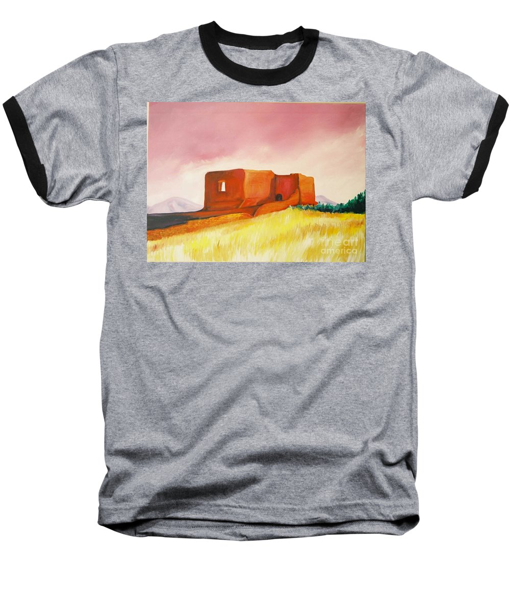 Western Landscapes Baseball T-Shirt featuring the painting Pecos Mission Nm by Eric Schiabor