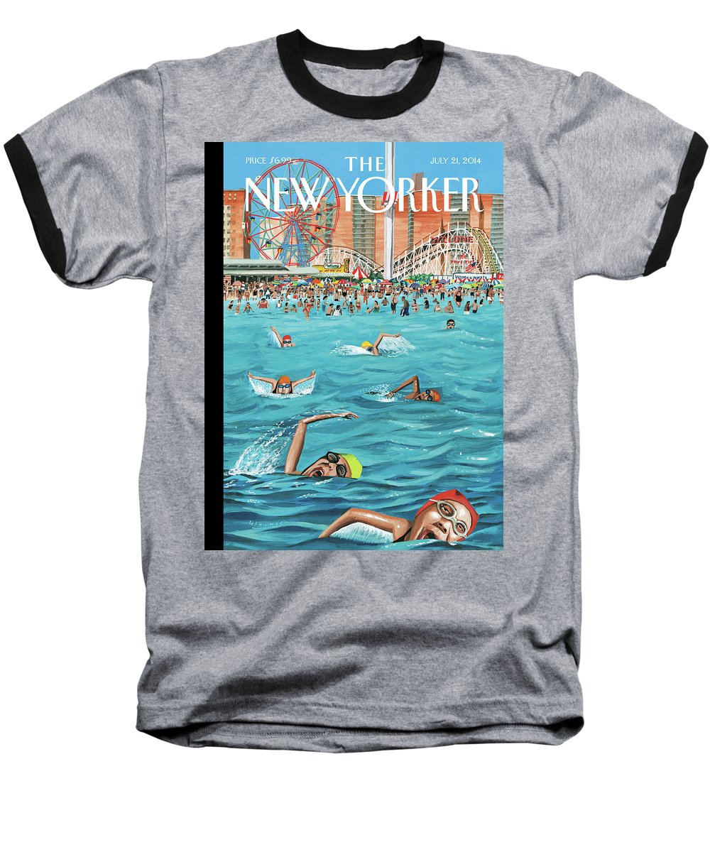 Beach Baseball T-Shirt featuring the painting Coney Island by Mark Ulriksen