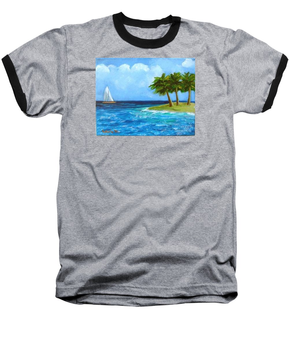 Boats Baseball T-Shirt featuring the painting Perfect Sailing Day by Laurie Morgan