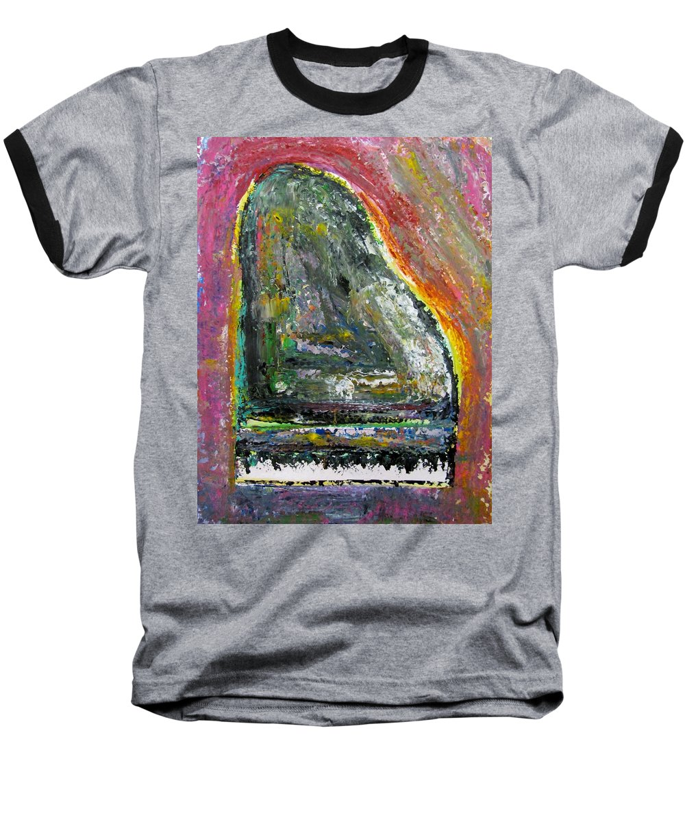 Impressionist Baseball T-Shirt featuring the painting Piano Red by Anita Burgermeister