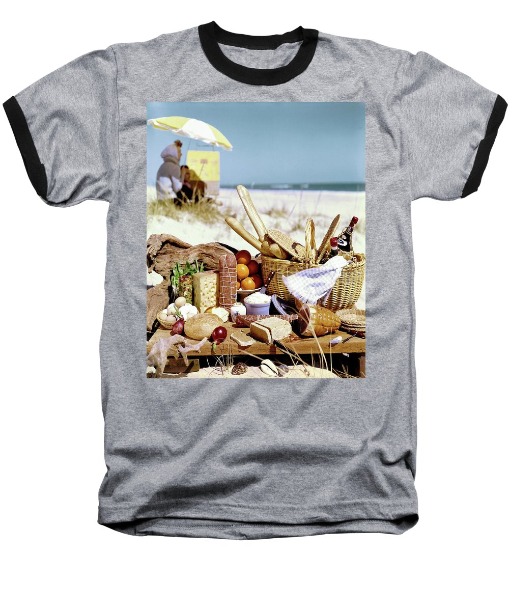 Still Life Baseball T-Shirt featuring the photograph Picnic Display On The Beach by Stan Young