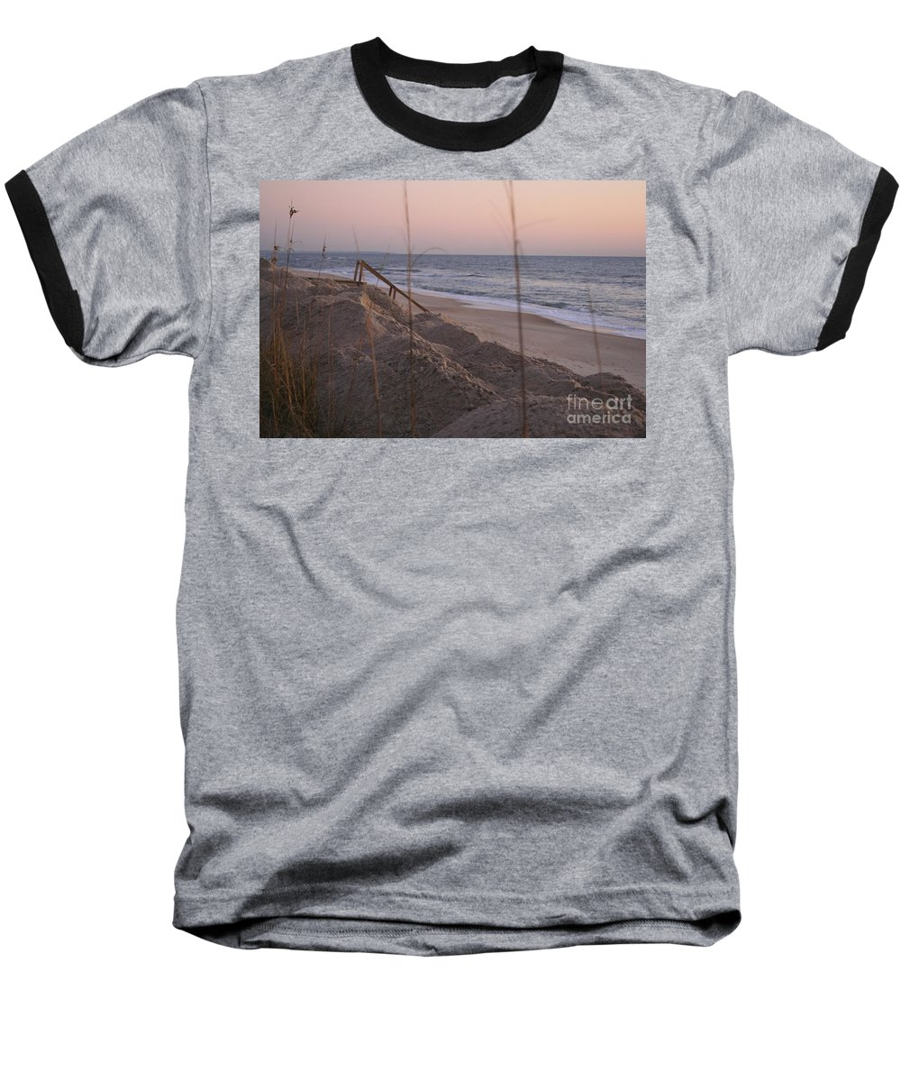 Pink Baseball T-Shirt featuring the photograph Pink Sunrise On The Beach by Nadine Rippelmeyer