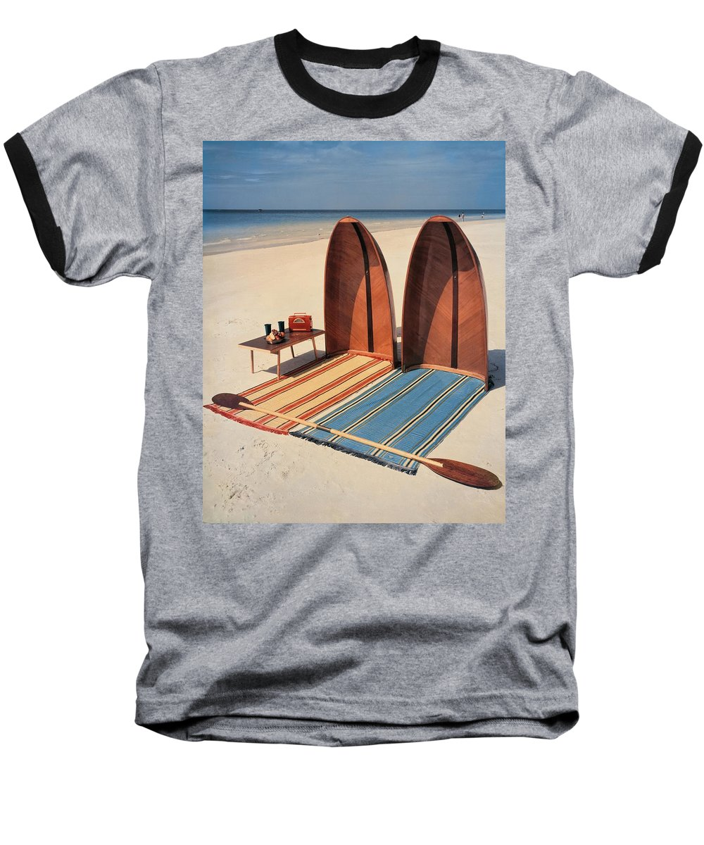 Accessories Baseball T-Shirt featuring the photograph Pixie Collapsible Boat On The Beach by Lois and Joe Steinmetz