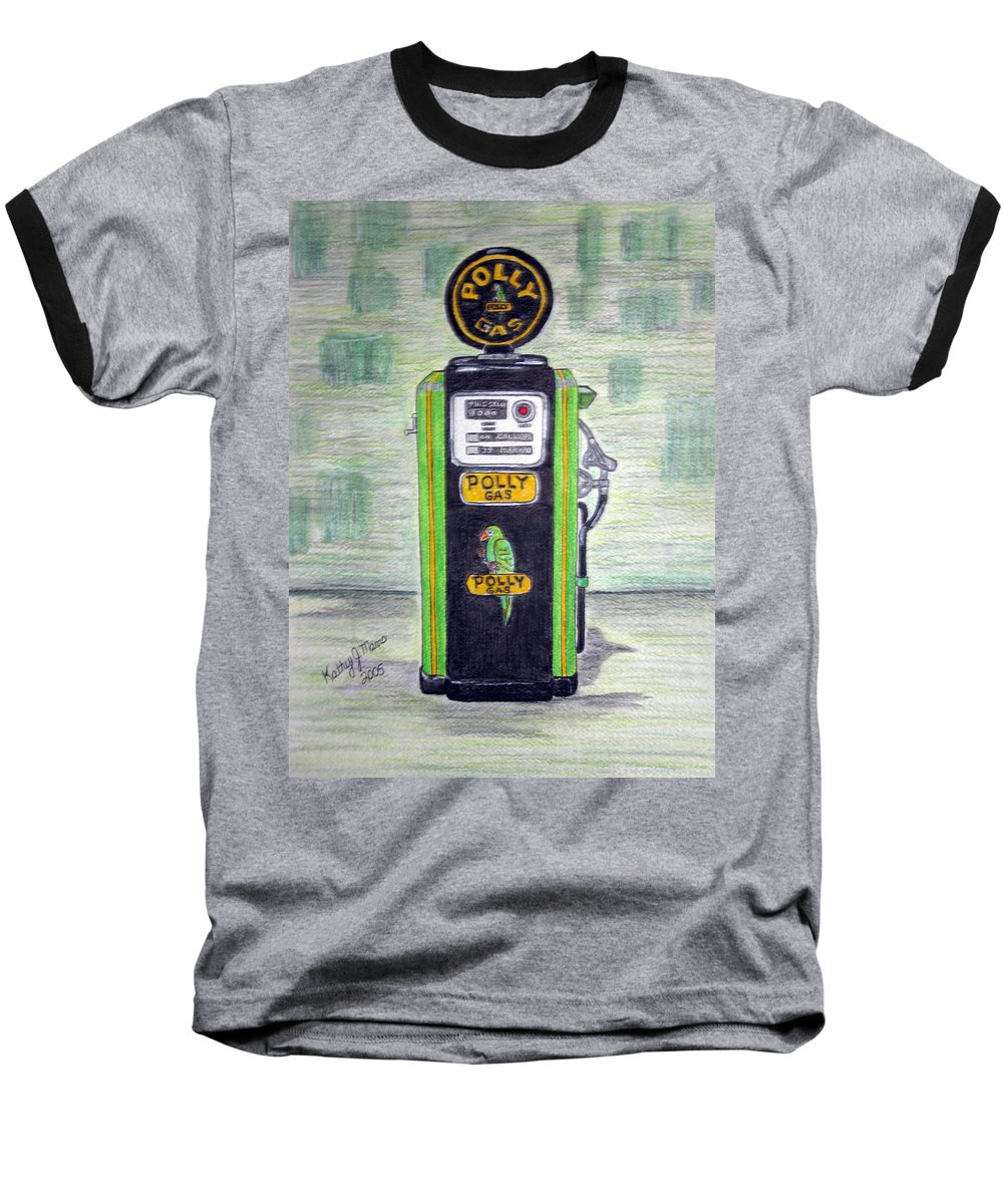 Parrot Baseball T-Shirt featuring the painting Polly Gas Pump by Kathy Marrs Chandler