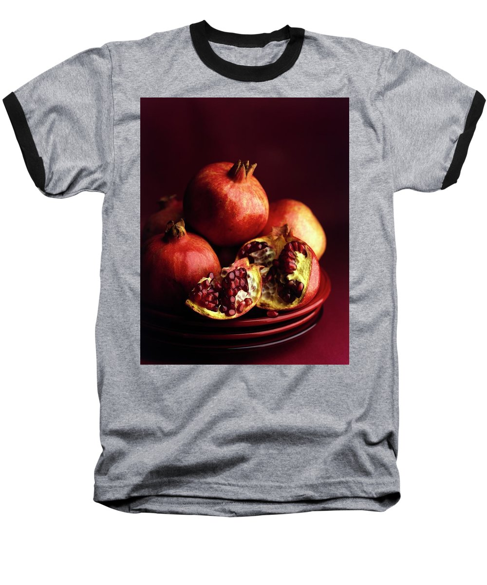 Fruits Baseball T-Shirt featuring the photograph Pomegranates by Romulo Yanes