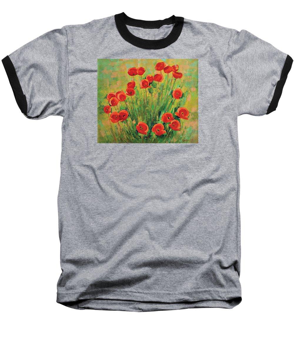 Poppies Baseball T-Shirt featuring the painting Poppies by Iliyan Bozhanov