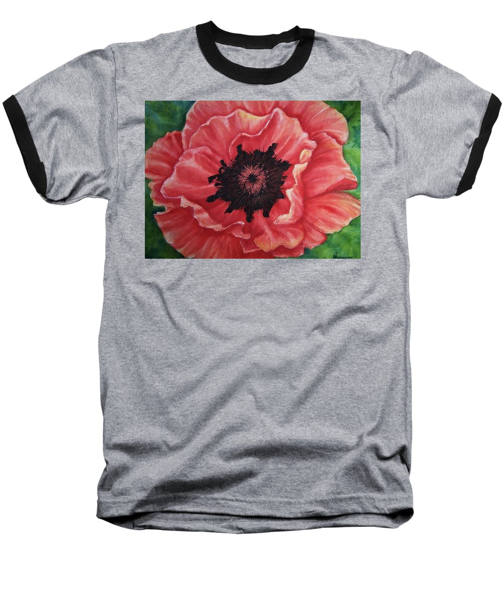Poppy Baseball T-Shirt featuring the painting Poppy by Conni Reinecke