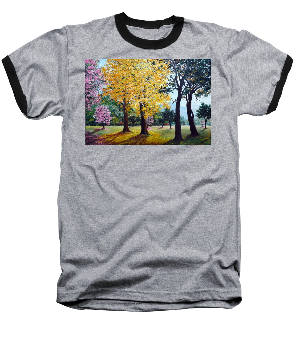 Tree Painting Landscape Painting Caribbean Painting Poui Tree Yellow Blossoms Trinidad Queens Park Savannah Port Of Spain Trinidad And Tobago Painting Savannah Tropical Painting Baseball T-Shirt featuring the painting Poui Trees In The Savannah by Karin Dawn Kelshall- Best
