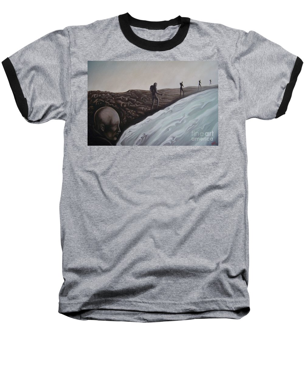 Tmad Baseball T-Shirt featuring the painting Premonition by Michael TMAD Finney