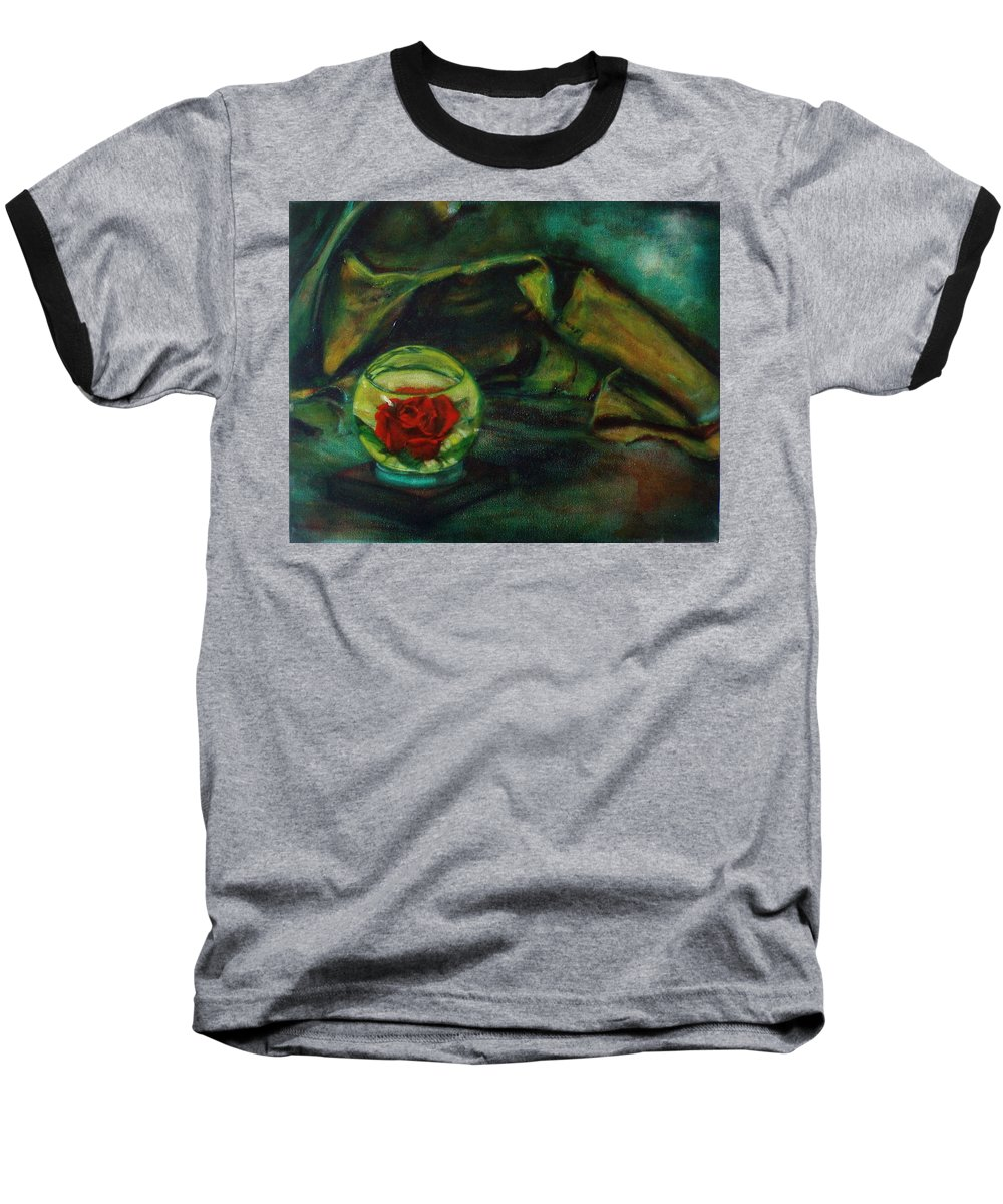 Still Life Baseball T-Shirt featuring the painting Preserved Rose . . Draped Canvas by Sean Connolly
