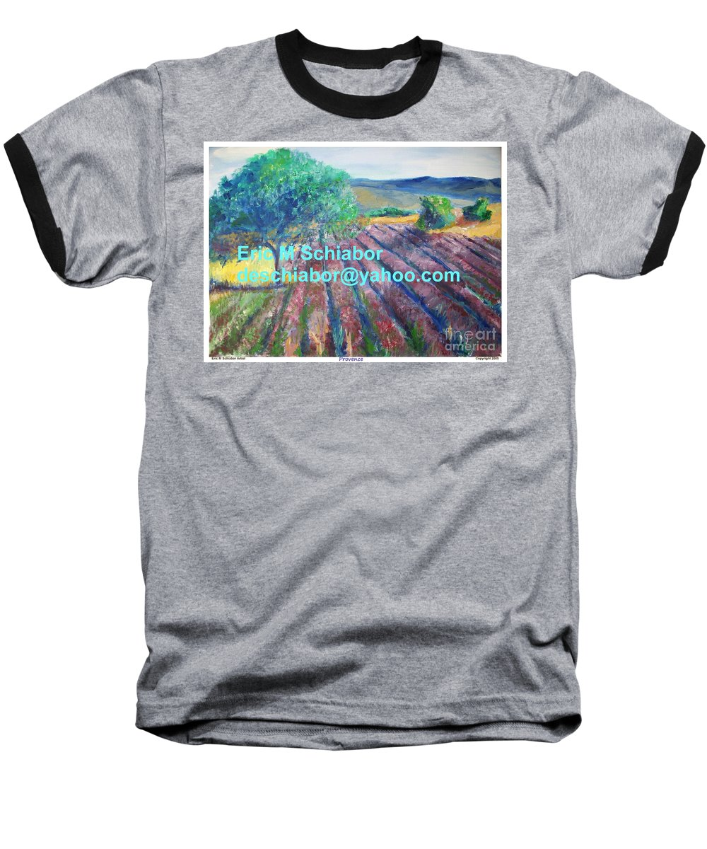 The Actor Baseball T-Shirt featuring the painting Provence Lavender Field by Eric Schiabor