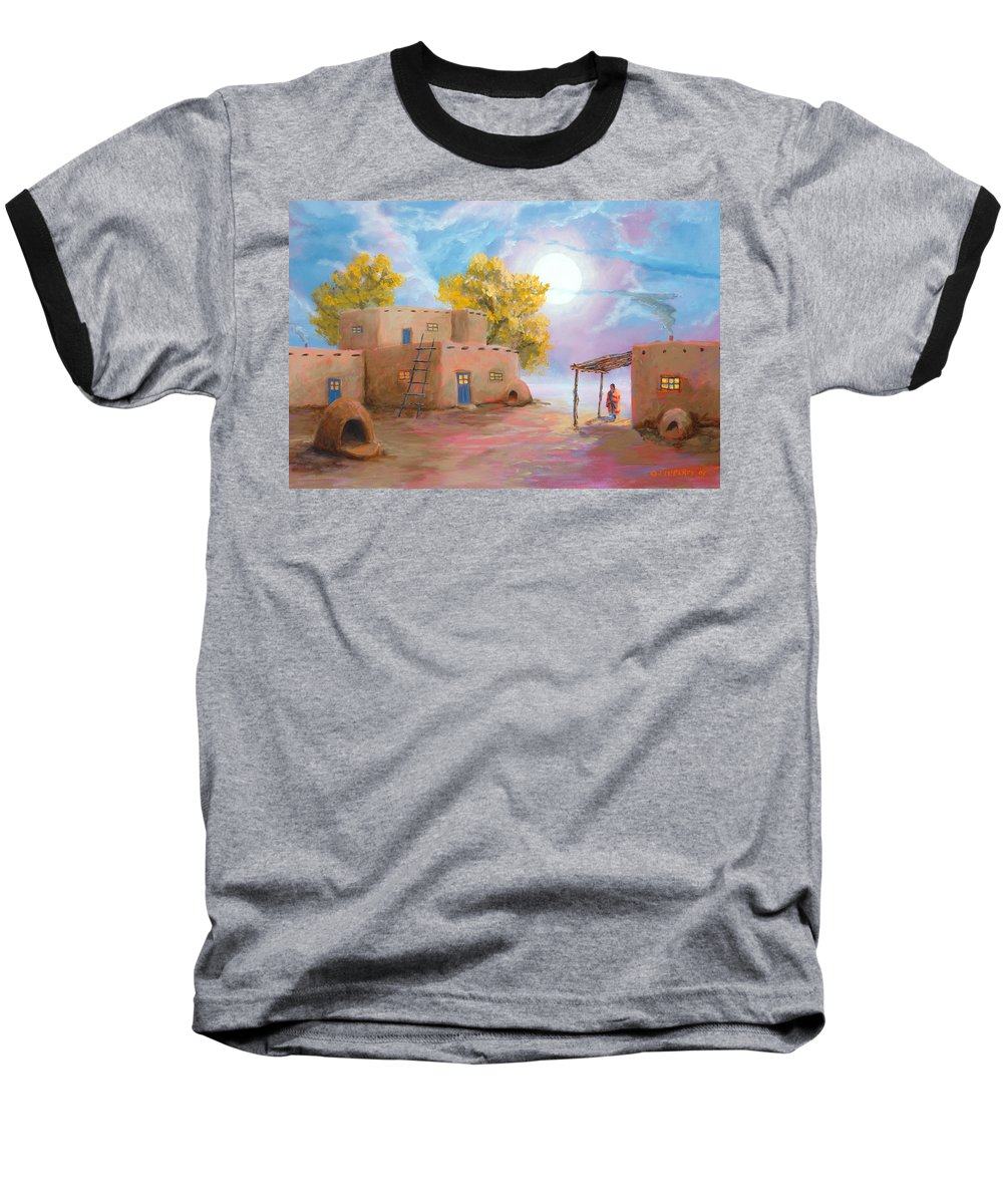 Pueblo Baseball T-Shirt featuring the painting Pueblo De Las Lunas by Jerry McElroy