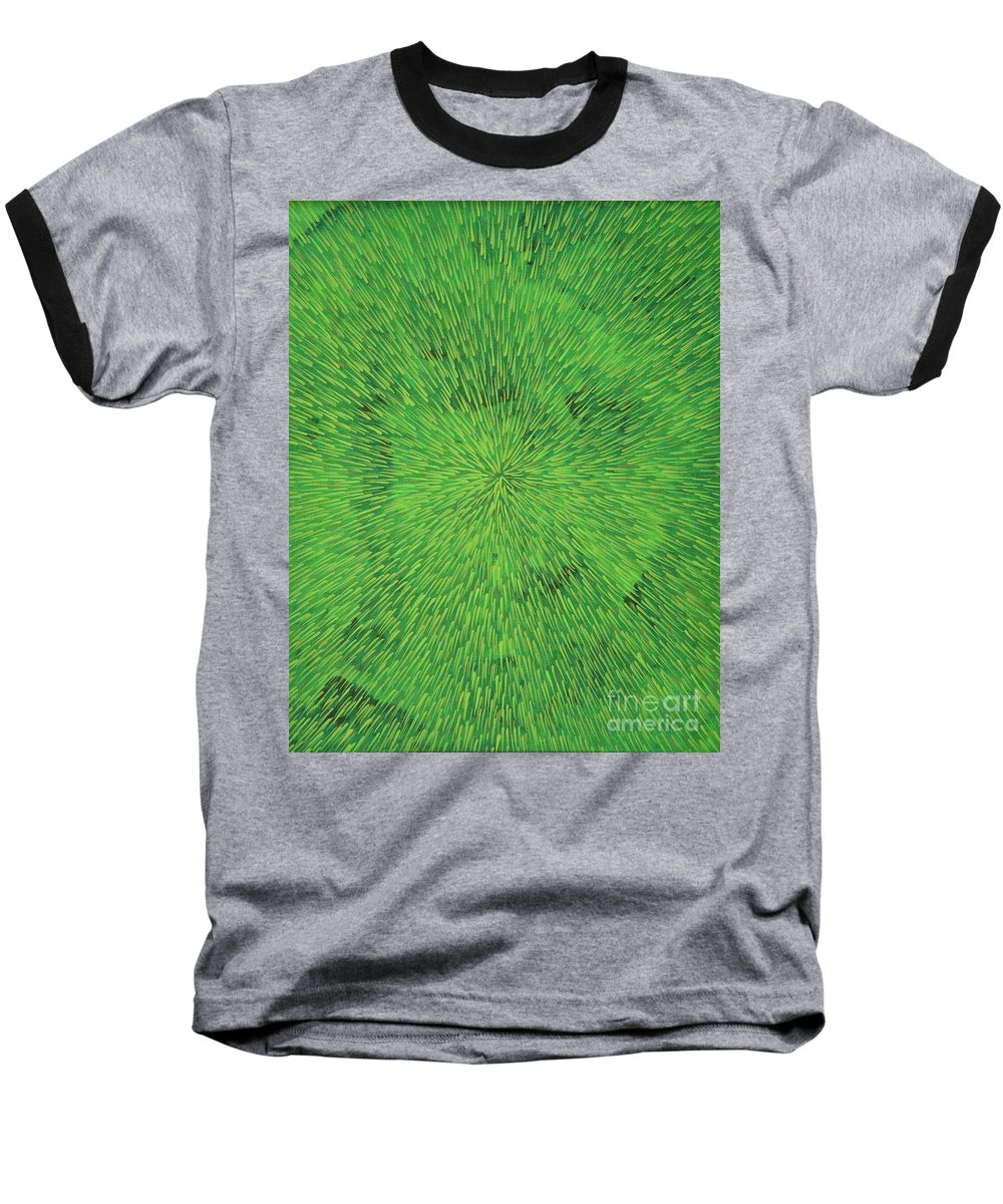 Abstract Baseball T-Shirt featuring the painting Radiation Green by Dean Triolo