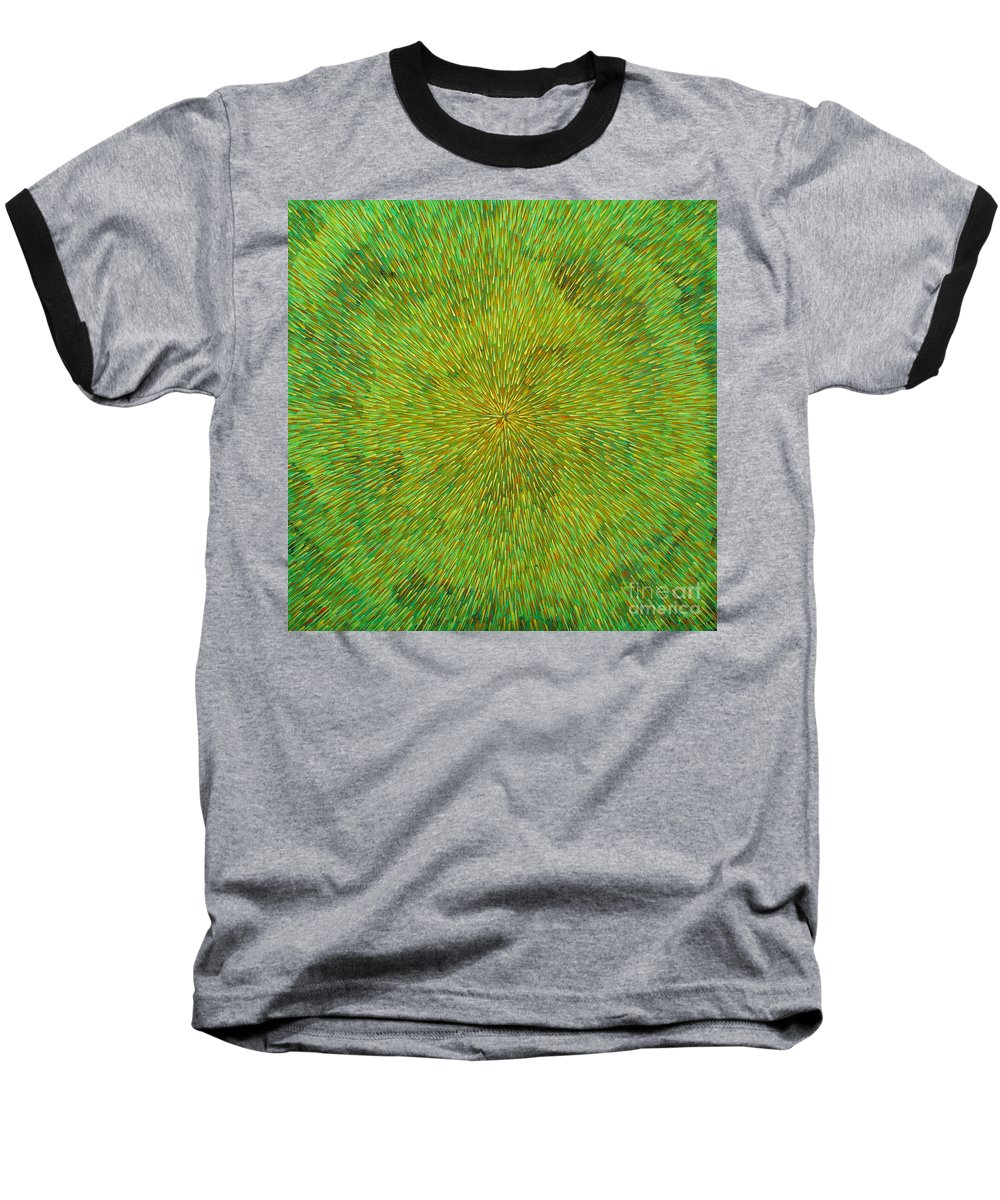 Abstract Baseball T-Shirt featuring the painting Radiation With Green Yellow And Orange by Dean Triolo