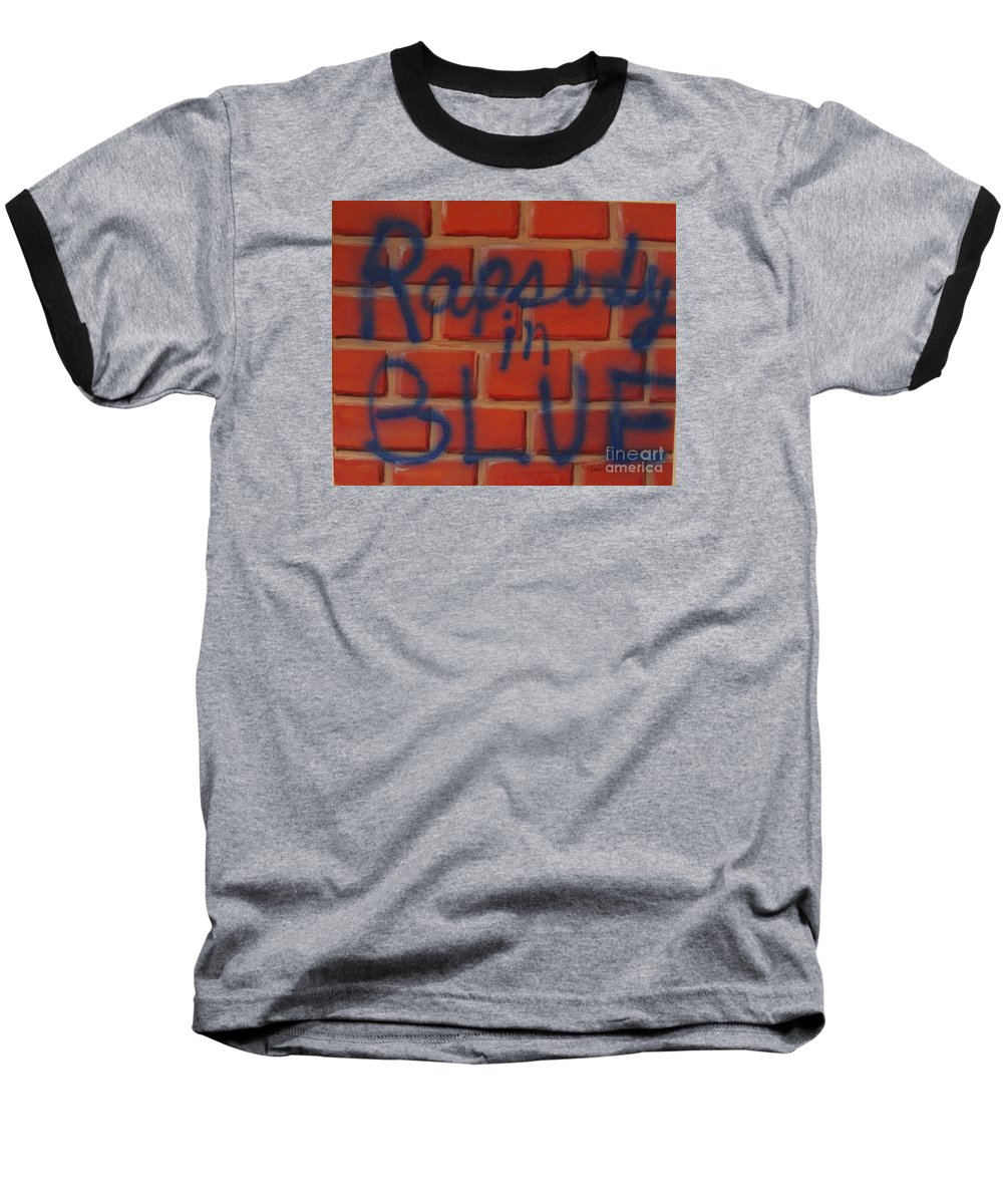 Abstract Baseball T-Shirt featuring the painting Rapsody In Blue by Laurie Morgan