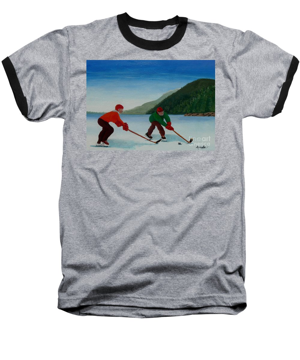 Pond Baseball T-Shirt featuring the painting Reach For It by Anthony Dunphy