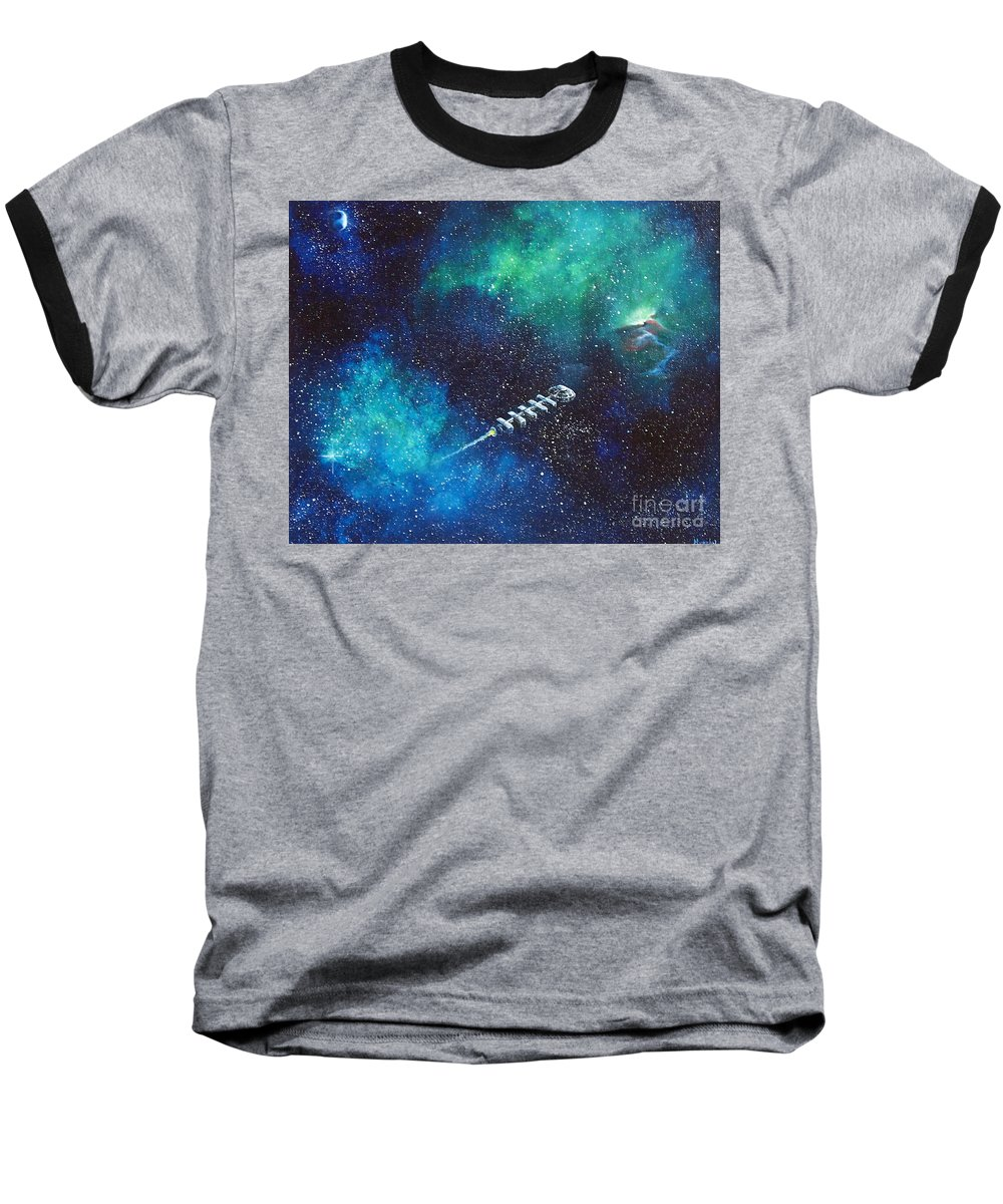 Spacescape Baseball T-Shirt featuring the painting Reaching Out by Murphy Elliott